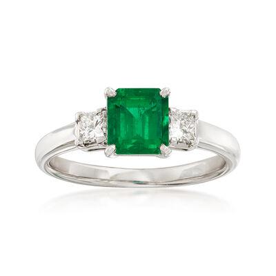 C. 1980 Vintage 1.00 Carat Emerald and .31 ct. t.w. Diamond Ring in Platinum, , default
