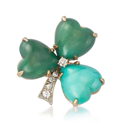 C. 1950 Vintage Turquoise and .25 ct. t.w. Diamond Shamrock Pin in 14kt Yellow Gold, , default