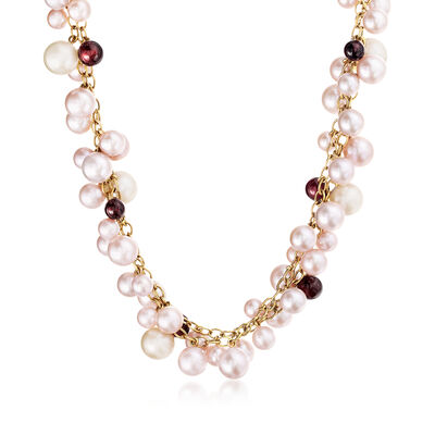 C. 1980 Vintage Mimi Milano 5.5-8.5mm Multicolored Cultured Pearl and 5.3-6.5mm Garnet Bead Necklace in 18kt Yellow Gold, , default