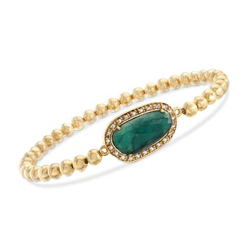 """5.00 Carat Emerald and .20 ct. t.w. White Topaz Bead Stretch Bracelet in 18kt Gold Over Sterling . 8"""", , default"""