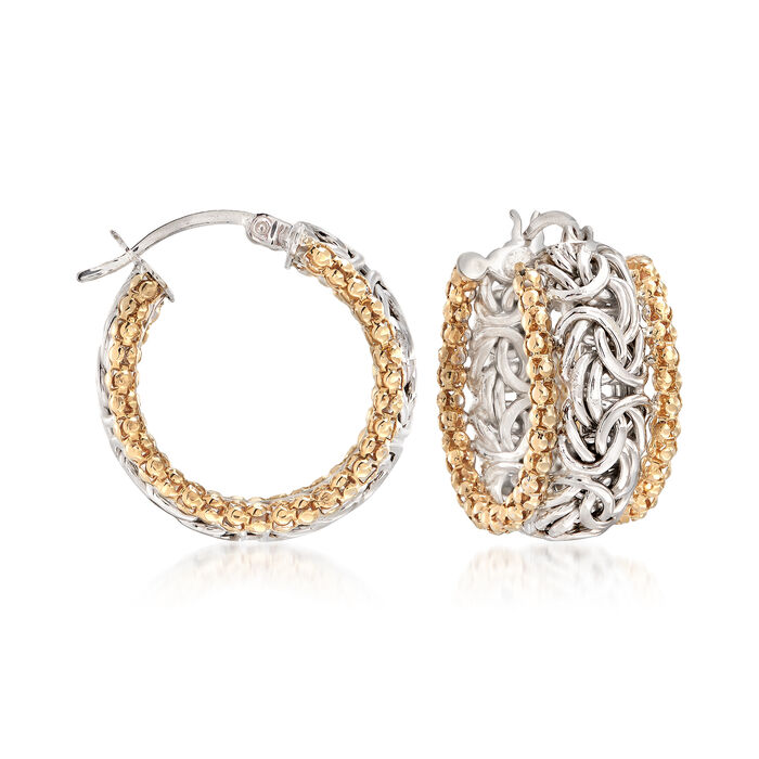 "Sterling Silver and 14kt Yellow Gold Byzantine Hoop Earrings. 7/8"", , default"