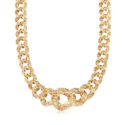 Italian 14kt Yellow Gold Tartan Cut-Out Link Necklace, , default