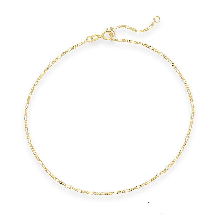 14kt Yellow Gold Figaro Chain Anklet