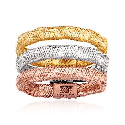 Italian 14kt Tri-Colored Gold Jewelry Set: Three Wavy Mesh Rings, , default