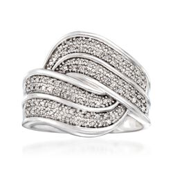 .30 ct. t.w. Diamond Wave Ring in Sterling Silver, , default