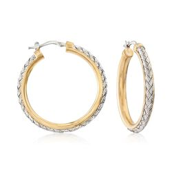 "Charles Garnier ""Norma"" Two-Tone Sterling Silver Hoop Earrings. 1 3/8"", , default"