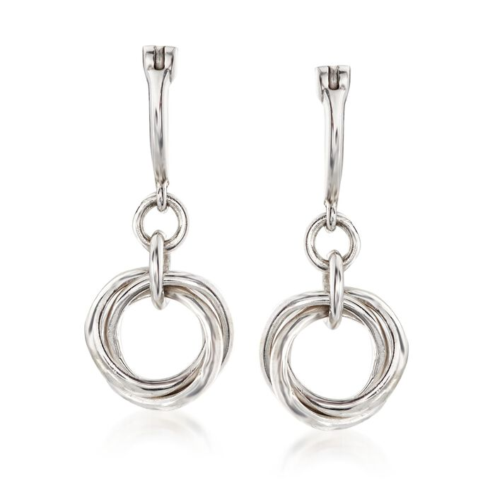 """Zina Sterling Silver """"Contemporary"""" Rolling Ring Drop Earrings. 3/4, , default"""