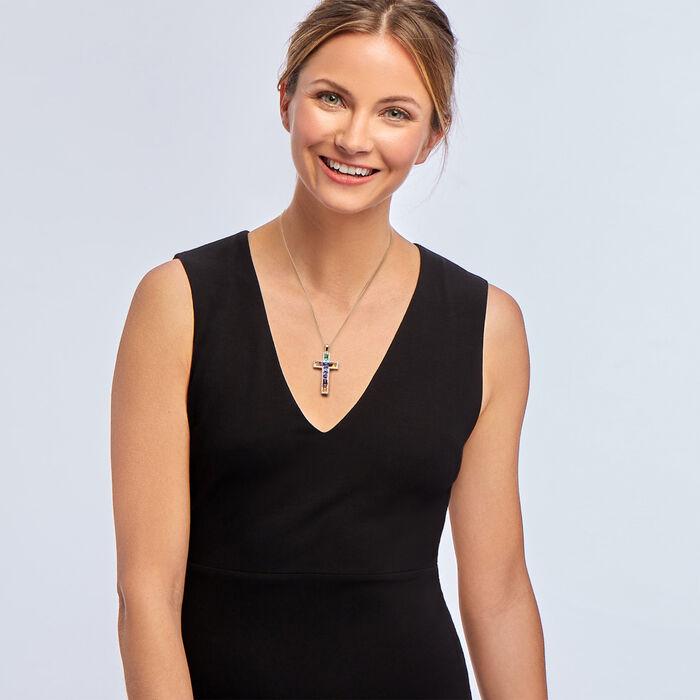 "1.90 ct. t.w. Multi-Gemstone Cross Pendant Necklace in Sterling Silver. 18"", , default"