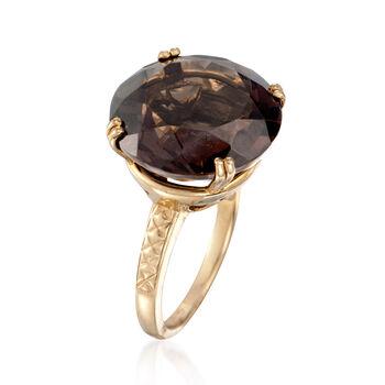 18.00 Carat Smoky Quartz Ring in 14kt Gold Over Sterling, , default