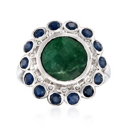 5.00 Carat Emerald and 1.90 ct. t.w. Sapphire Ring in Sterling Silver, , default