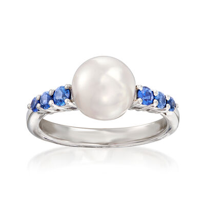 "Mikimoto ""Ocean"" 8mm A+ Akoya Pearl and .40 ct. t.w. Sapphire Ring in 18kt White Gold, , default"