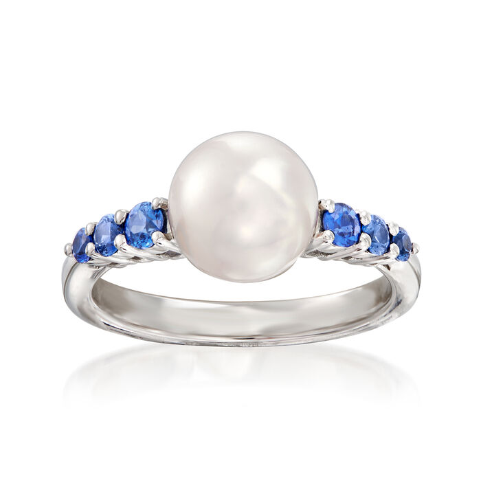 """Mikimoto """"Ocean"""" 8mm A+ Akoya Pearl and .40 ct. t.w. Sapphire Ring in 18kt White Gold"""