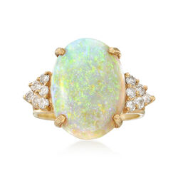 """C. 1980 Vintage Opal and .40 ct. t.w. Diamond Ring in 14kt Yellow Gold. 7.5"""", , default"""