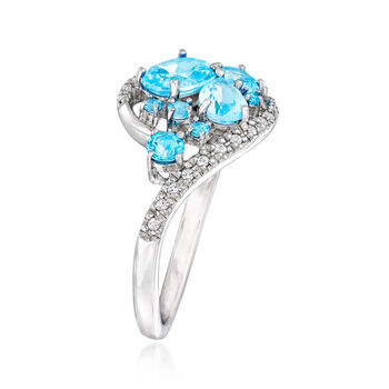1.59 ct. t.w. Blue and White Swarovski Topaz Ring in Sterling Silver