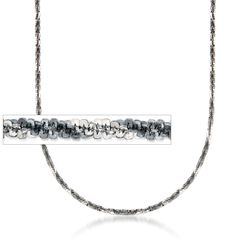 Italian Gunmetal Sterling Silver Crisscross Chain Necklace, , default