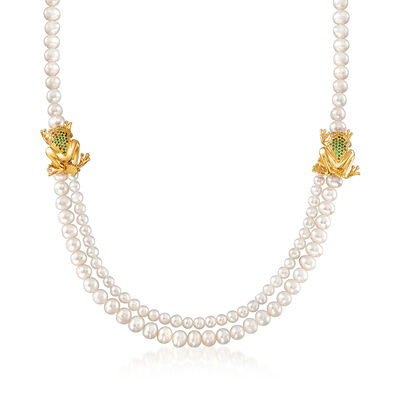 Italian Cultured Pearl and 10.08 ct. t.w. Green and White CZ Double-Drop Frog Necklace in 18kt Gold Over Sterling, , default