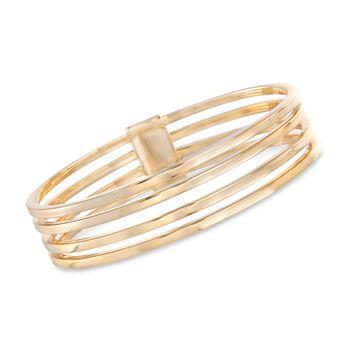 "Italian 18kt Gold Over Sterling Silver Four-Row Bangle Bracelet. 8"", , default"