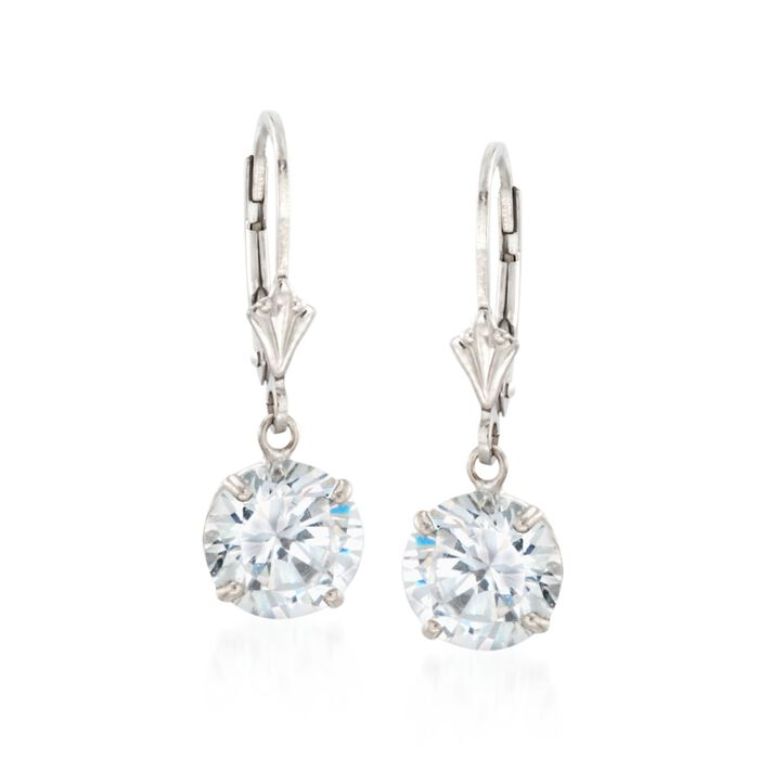 4.00 ct. t.w. Round CZ Drop Earrings in Sterling Silver