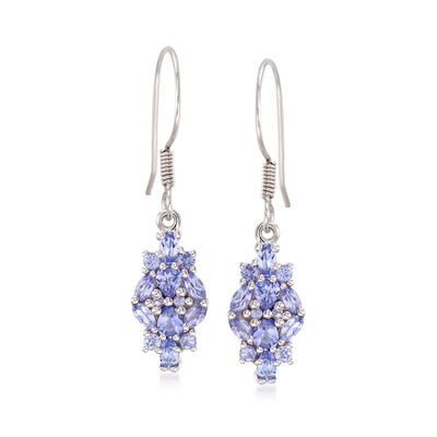 1.78 ct. t.w. Tanzanite Drop Earrings in Sterling Silver, , default