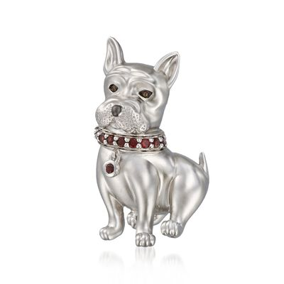 .20 ct. t.w. Garnet Dog Pin Pendant with Smoky Quartz Accent in Sterling Silver, , default