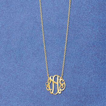 14kt Yellow Gold Petite Script Monogram Necklace, , default