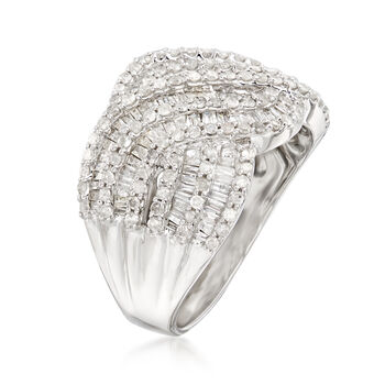 1.45 ct. t.w. Diamond Wave Ring in Sterling Silver, , default
