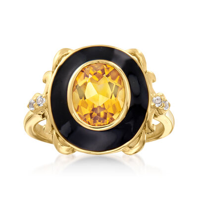 1.80 Carat Citrine and .10 ct. t.w. White Topaz Ring with Black Enamel in 18kt Gold Over Sterling