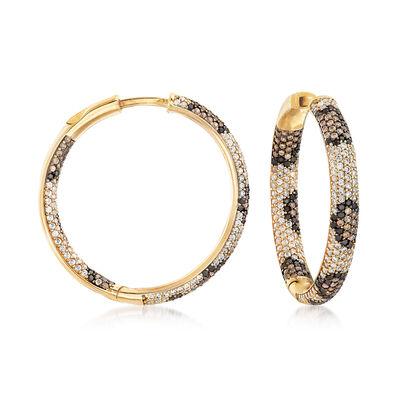 3.23 ct. t.w. Multicolored CZ Leopard Inside-Outside Hoop Earrings in 18kt Gold Over Sterling