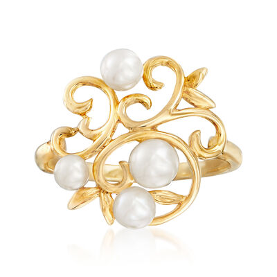 3-5mm Cultured Pearl Swirl Ring in 14kt Yellow Gold, , default