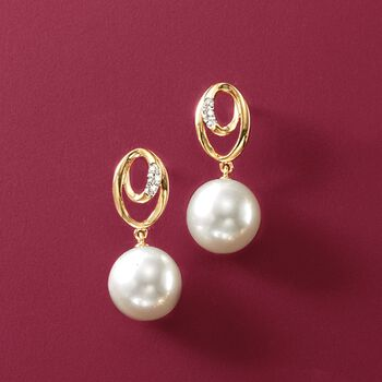 7.5mm Cultured Pearl Drop Earrings with Diamond Accents in 14kt Yellow Gold , , default