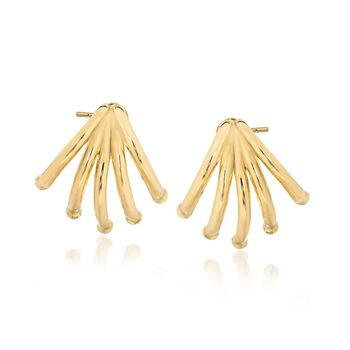 14kt Yellow Gold Curved Multi-Bar Earrings , , default