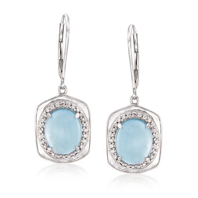 5.50 ct. t.w. Aquamarine and .22 ct. t.w. Diamond Drop Earrings in 14kt White Gold, , default