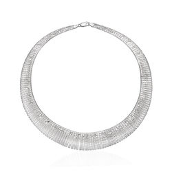Italian Sterling Silver Starburst Cleopatra Necklace, , default