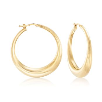 "Italian 18kt Yellow Gold Over Sterling Silver Hoop Earrings. 1 5/8"", , default"