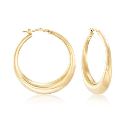 Italian 18kt Yellow Gold Over Sterling Silver Hoop Earrings, , default