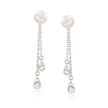 Sterling Silver Jewelry Set: 6.5-7mm Cultured Pearl Earrings and Two Pairs of CZ Earring Jackets, , default