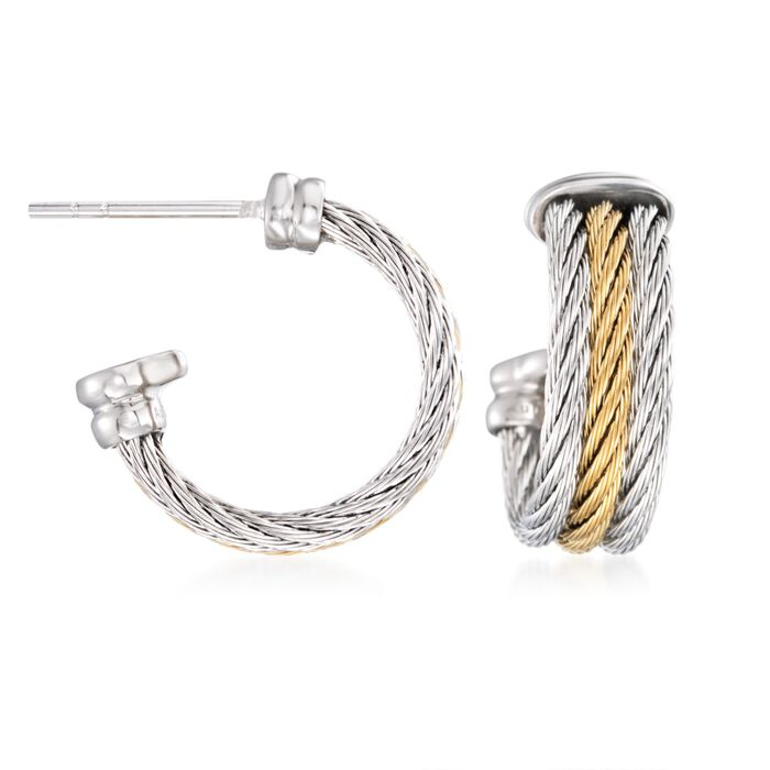 "ALOR ""Classique"" Two-Tone Stainless Steel Multi-Cable Hoop Earrings With 18kt White Gold. 5/8"", , default"