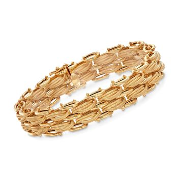 Italian 14kt Yellow Gold Panther-Link Bracelet , , default