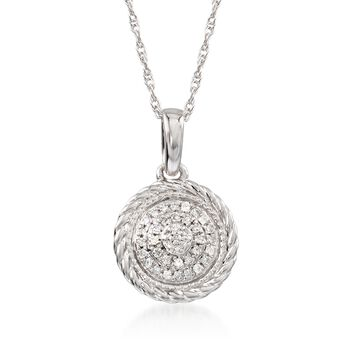 """Diamond-Accented Circle Pendant Necklace in 14kt White Gold. 18"""", , default"""