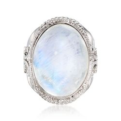 White Moonstone Ring in Sterling Silver, , default