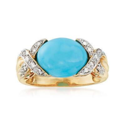 C. 1980 Vintage 12x9mm Turquoise and .15 ct. t.w. Diamond Ring in 14kt Yellow Gold, , default