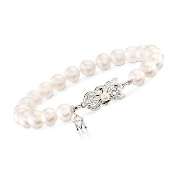 """Mikimoto 7-7.5mm 'A' Akoya Pearl Bracelet in 18kt White Gold. 7"""", , default"""