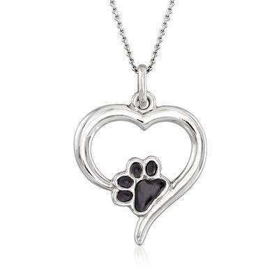 Italian Sterling Silver and Black Enamel Paw Print Open-Heart Pendant Necklace