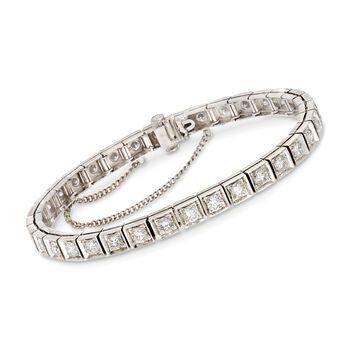 "C. 1980 Vintage 5.50 ct. t.w. Diamond Tennis Bracelet in 14kt White Gold. 7"", , default"
