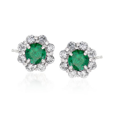 1.60 ct. t.w. Emerald and 1.05 ct. t.w. Diamond Stud Earrings in 14kt White Gold, , default