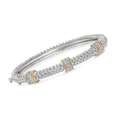 .11 ct. t.w. Diamond Station Bangle Bracelet in Sterling Silver and 14kt Yellow Gold, , default