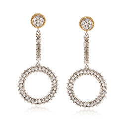 .80 ct. t.w. CZ Open Circle Drop Earrings in Sterling Silver and 14kt Gold, , default