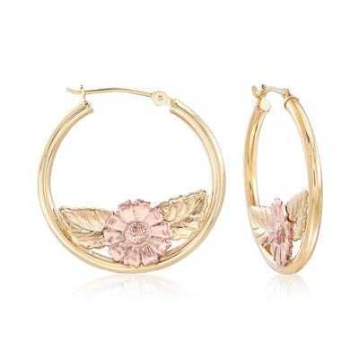 14kt Two-Tone Gold Foliage and Floral Hoop Earrings, , default