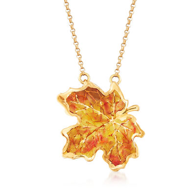 Italian Orange and Yellow Enamel Maple Leaf Necklace in 14kt Yellow Gold