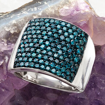 2.00 ct. t.w. Blue Diamond Wide Ring in Sterling Silver, , default